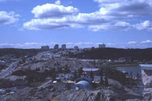 A 1980 view of Yellowknife from a near by hill.